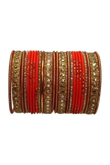 BAKBB-01 Orange and Golden Set of 24 Classic Glitter Girl's Bangles