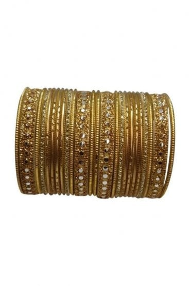 BAKBB-02 Gold and Golden Set of 24 Classic Glitter Girl's Bangles