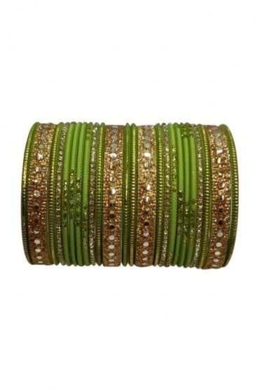 BAKBB-04 Green and Golden Set of 24 Classic Glitter Girl's Bangles