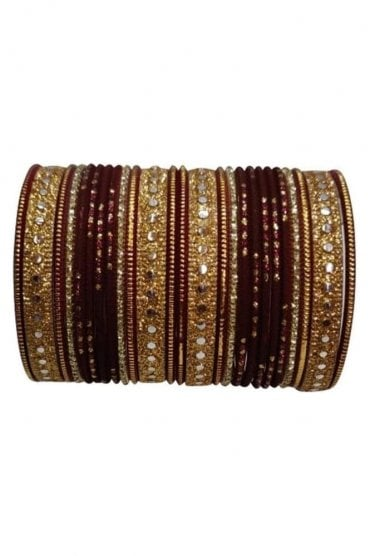 BAKBB-05 Brown and Golden Set of 24 Classic Glitter Girl's Bangles