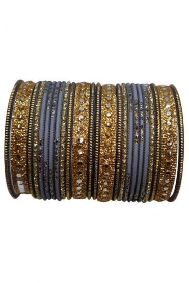 BAKBB-06 Grey and Gold Set of 24 Classic Glitter Girl's Bangles