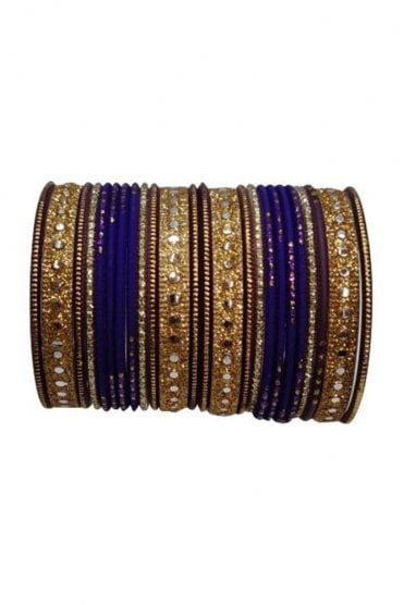 BAKBB-07 Purple and Golden Set of 24 Classic Glitter Girl's Bangles