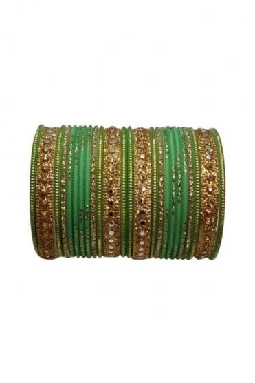 BAKBB-08 Green and Golden Set of 24 Classic Glitter Girl's Bangles