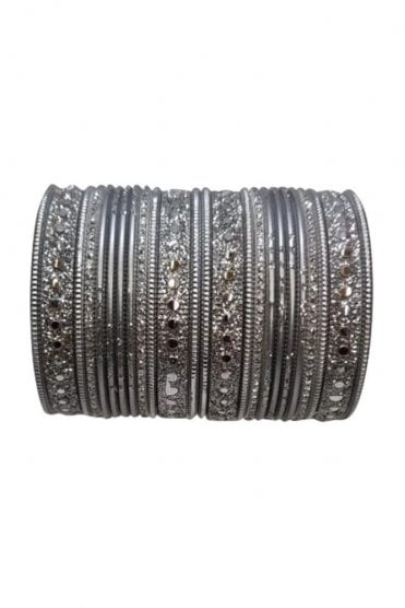 BAKBB-09 Silver and Grey Set of 24 Classic Glitter Girl's Bangles