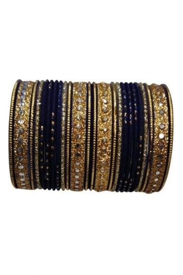 BAKBB-10 Navy Blue and Golden Set of 24 Classic Glitter Girl's Bangles