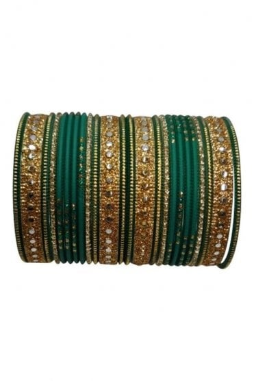 BAKBB-11 Green and Golden Set of 24 Classic Glitter Girl's Bangles