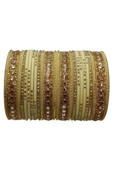 BAKBB-12 Cream and Golden Set of 24 Classic Glitter Girl's Bangles