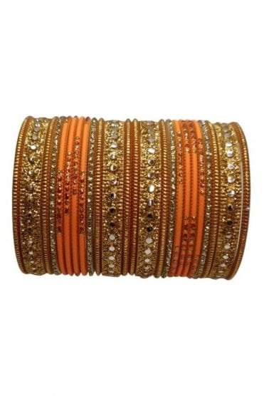BAKBB-13 Orange and Golden Set of 24 Classic Glitter Girl's Bangles