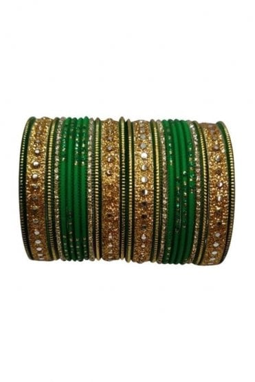 BAKBB-14 Green and Golden Set of 24 Classic Glitter Girl's Bangles
