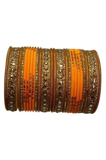 BAKBB-15 Mustard and Golden Set of 24 Classic Glitter Girl's Bangles