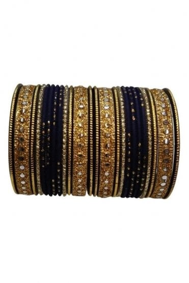 BAKBB-16 Black and Golden Set of 24 Classic Glitter Girl's Bangles
