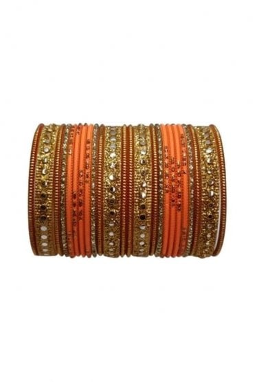 BAKBB-18 Peach and Golden Set of 24 Classic Glitter Girl's Bangles