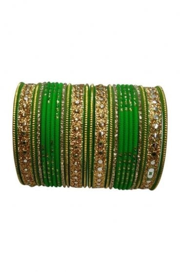 BAKBB-20 Green and Golden Set of 24 Classic Glitter Girl's Bangles