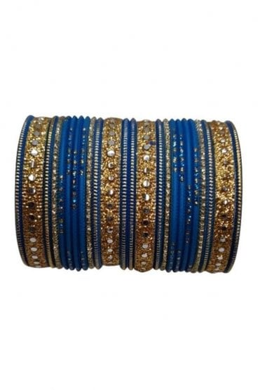 BAKBB-22 Sky blue and Golden Set of 24 Classic Glitter Girl's Bangles