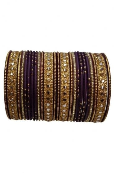 BAKBB-23 Purple and Golden Set of 24 Classic Glitter Girl's Bangles