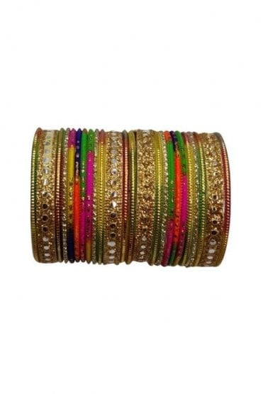BAKBB-24 Multi-Coloured and Golden Set of 24 Classic Glitter Girl's Bangles