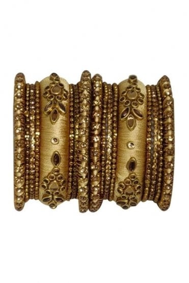 BAK1064-01 Gold and Golden Set of 18 Thread and Stone Girl's Bangles