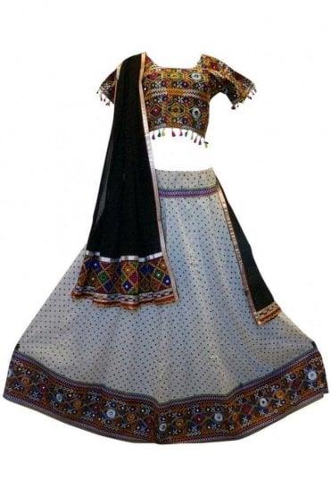WCC19029 Stylish Cream and Black Designer Navratri Special Chaniya Choli Lengha