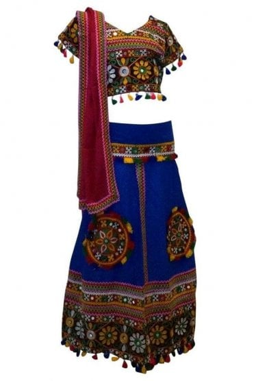 GCC19003 Blue and Pink Girl's Lengha Choli