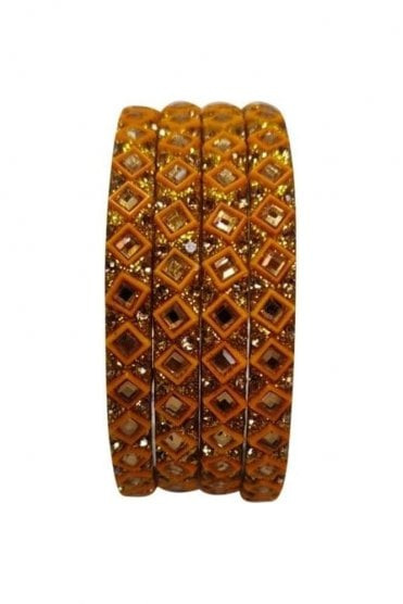 BAN20-05 Mustard and Gold Abla MirrorÿStone Womens Bangles