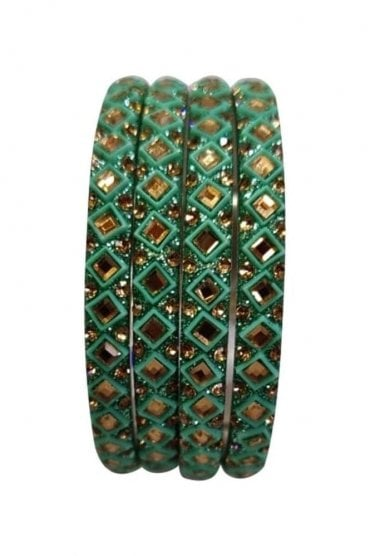 BAN20-08 Sea Green and Gold Abla MirrorÿStone Womens Bangles