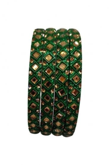 BAN20-09 Green and Gold Abla MirrorÿStone Womens Bangles