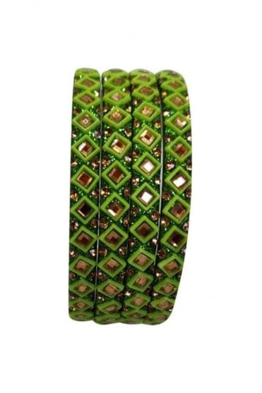BAN20-11 Green and Gold Abla MirrorÿStone Womens Bangles