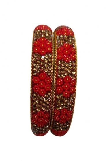 BAN50-02 Red and Antique Gold Floral and Bead Womens Bangles