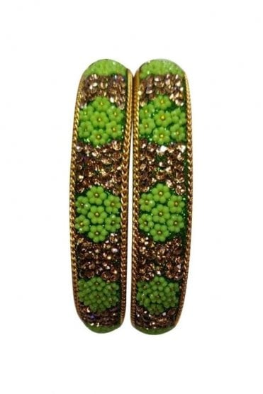 BAN50-07 Green and Antique Gold Floral and Bead Womens Bangles