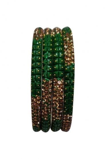 BAN521-01 Green and Antique Gold Stone, Bead and Glitter Womens Bangles