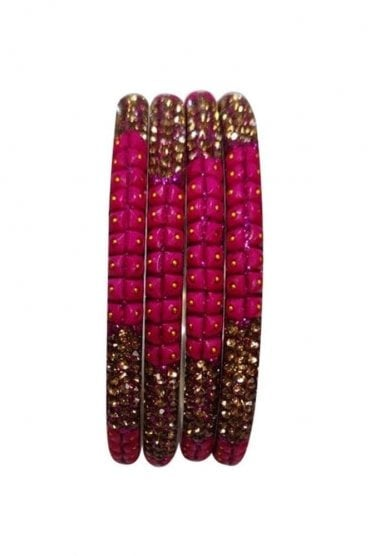 BAN521-07 Pink and Antique Gold Stone, Bead and Glitter Womens Bangles