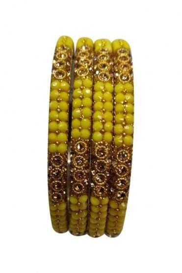 BAN813-09 Yellow and Antique Gold Stone, Bead and Glitter Womens Bangles