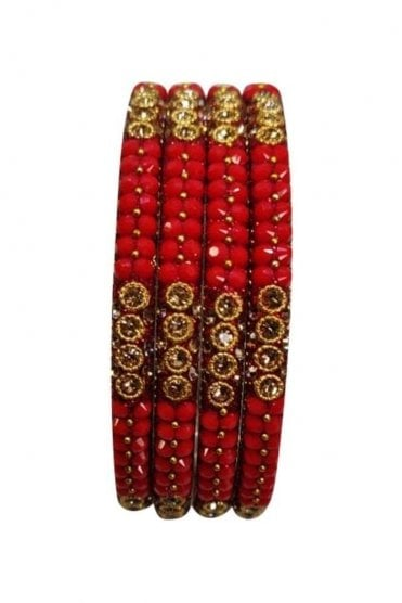 BAN813-10 Orange and Antique Gold Stone, Bead and Glitter Womens Bangles