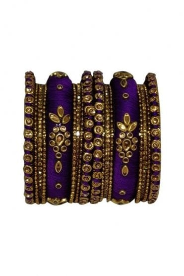 BAN1064-01 Purple  and Gold Thread and Stone Womens Bangles
