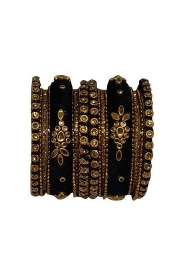BAN1064-02 Black and Gold Thread and Stone Womens Bangles