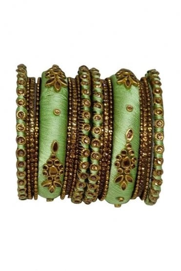 BAN1064-03 Sea Green and Gold Thread and Stone Womens Bangles