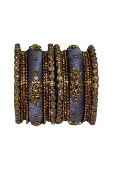 BAN1064-04 Grey and Gold Thread and Stone Womens Bangles