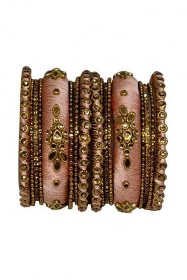 BAN1064-06 Peach and Gold Thread and Stone Womens Bangles