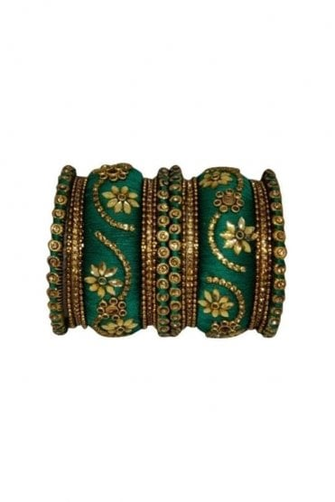 BAN1087-02 Jade Green and Gold Thread and Stone Womens Bangles