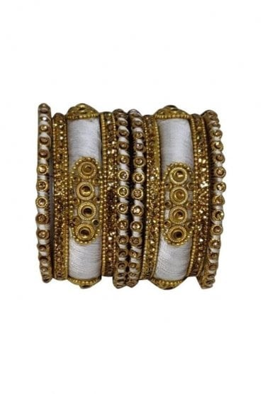 BAN1089-02 Ivory and Gold Thread and Stone Womens Bangles