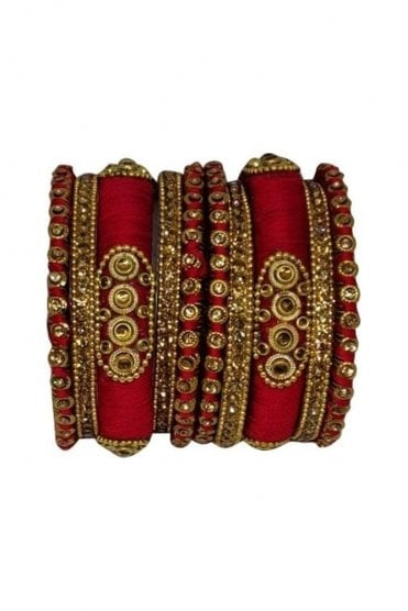 BAN1089-05 Red and Gold Thread and Stone Womens Bangles