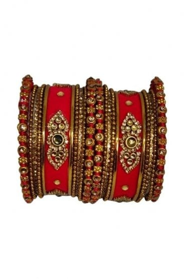 BAN5021-01 Red and Gold Velvet and Stone Womens Bangles