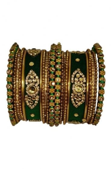 BAN5021-05 Emerald Green and Gold Velvet and Stone Womens Bangles