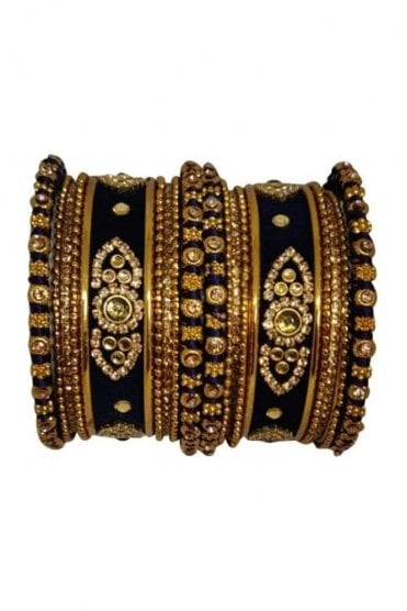 BAN5021-06 Navy Blue and Gold Velvet and Stone Womens Bangles