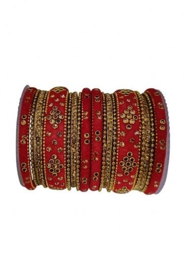 BANAS04-03 Red and Gold Velvet and Stone Womens Bangles