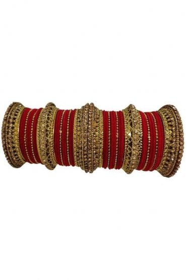 BANAS12-03 Red and Gold Velvet and Stone Womens Bangles