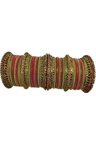 BANAS12-04 Sea Green, Pink and Gold Velvet and Stone Womens Bangles