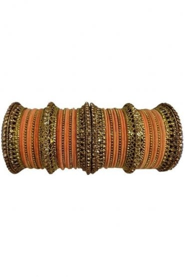 BANAS12-06 Peach and Gold Velvet and Stone Womens Bangles