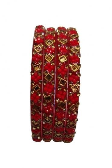 BANCIRC-03 Red and Gold Stone and Bead Womens Bangles