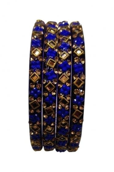 BANCIRC-07 Blue and Gold Stone and Bead Womens Bangles